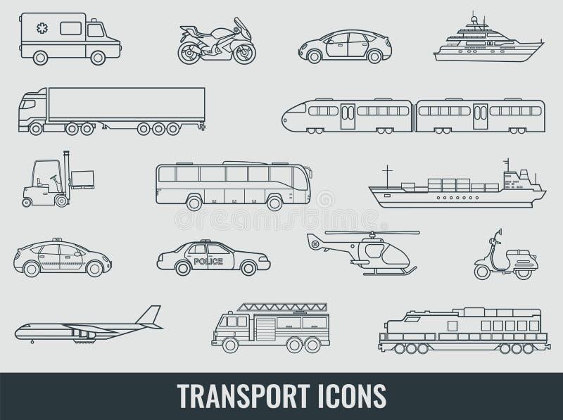 ikony ustawiają transport Miasto pojazdów i samochodów transport Samochód, statek, samolot, pociąg, motocykl, helikopter kontur royalty ilustracja