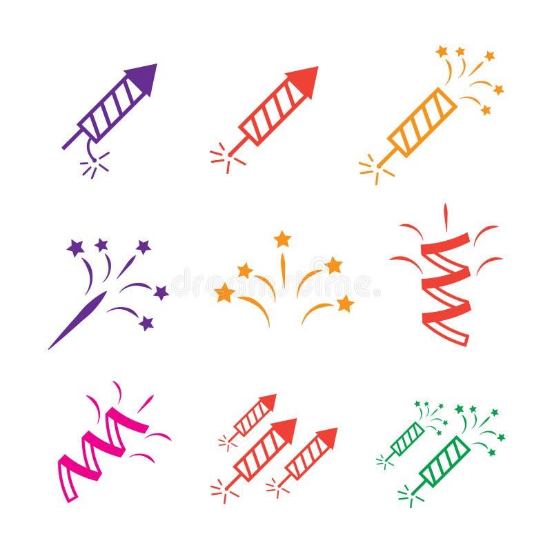 Ikony ustawiają wakacje Przyjęcie, urodziny ilustracja wektor