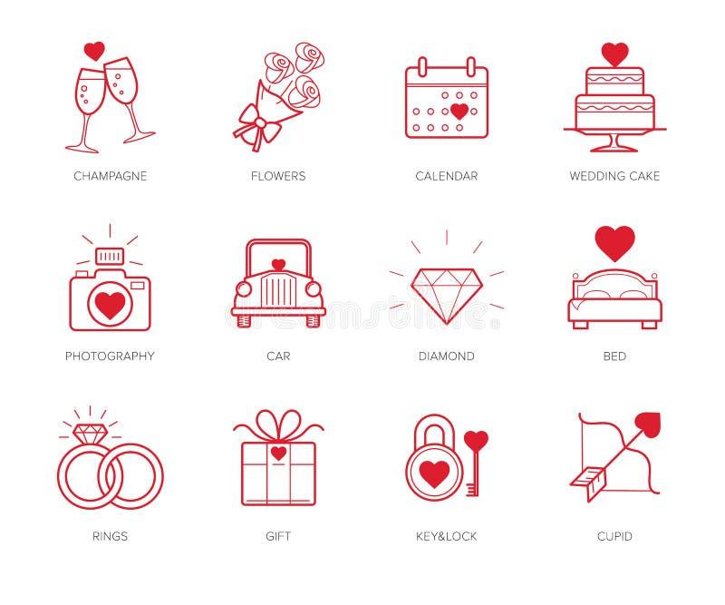 ikony ustawiający ślub royalty ilustracja