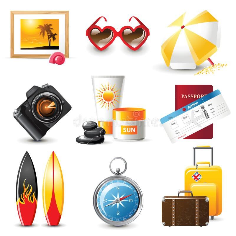 ikony ustawiający podróżowanie royalty ilustracja