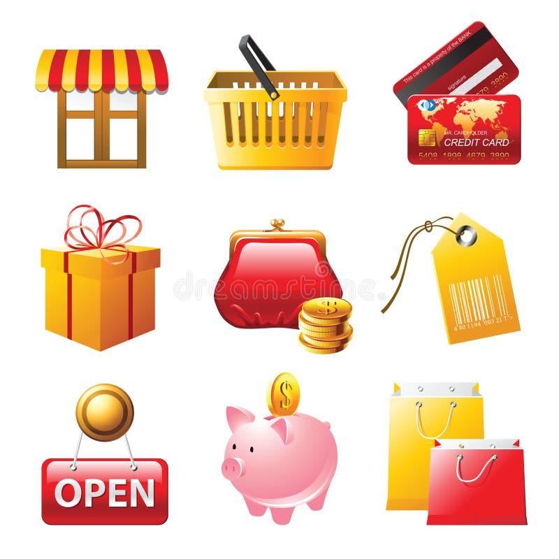 ikony ustawiający zakupy ilustracja wektor