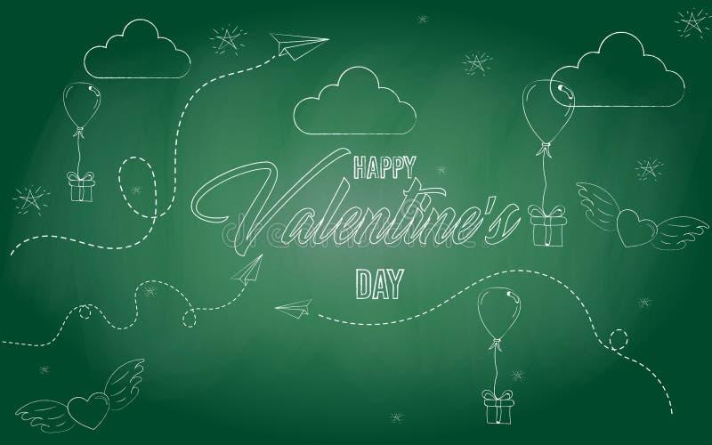Ikony ` walentynki ` s dnia Szczęśliwy ` nakreślenie również zwrócić corel ilustracji wektora Biel kreda na blackboard doodles 10 ilustracji