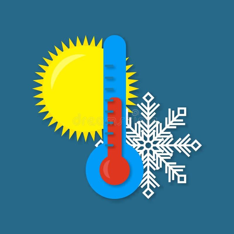 Ikony wektorowa ilustracja na zmroku - błękitny tło Gorący i zimna pogoda termometr wektor royalty ilustracja