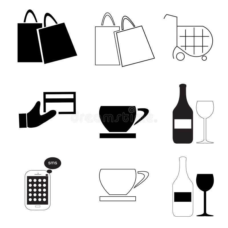 Ikony wektorowy ustawiający z kawą torby telefon komórkowy - kredytowa karta - wózek na zakupy - napoju szkło - ilustracji