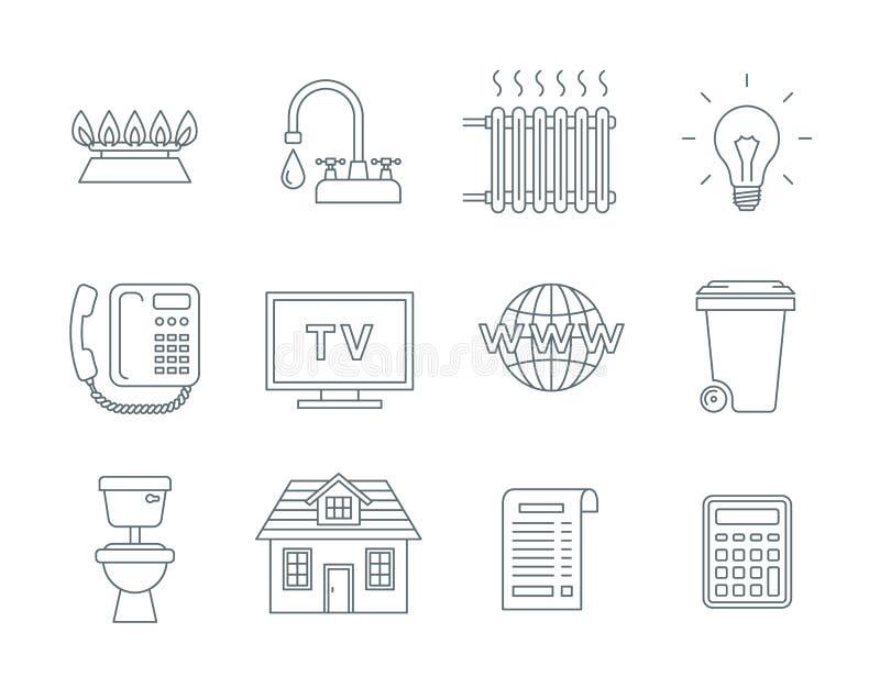 Ikony wiersza rachunku za usługi gospodarstwa domowego royalty ilustracja