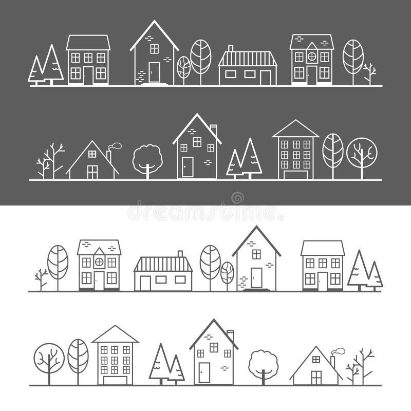 Ikony wioski biała linia i czerni linia royalty ilustracja