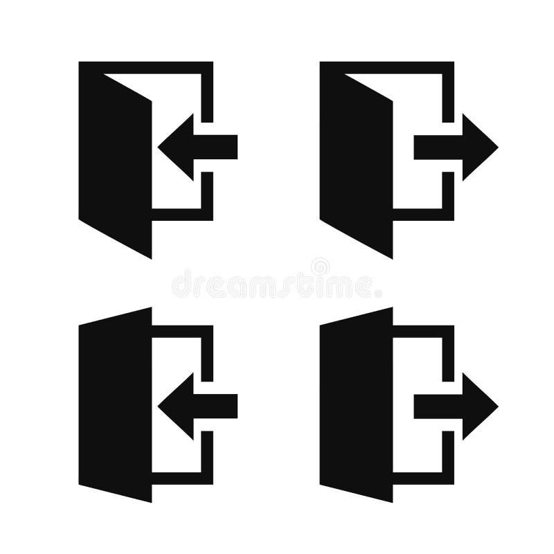 Ikony wyjścia i wejścia ustawione jako izolowane Pozostaw symbol witryny internetowej, wejście do drzwi - wektor ilustracja wektor