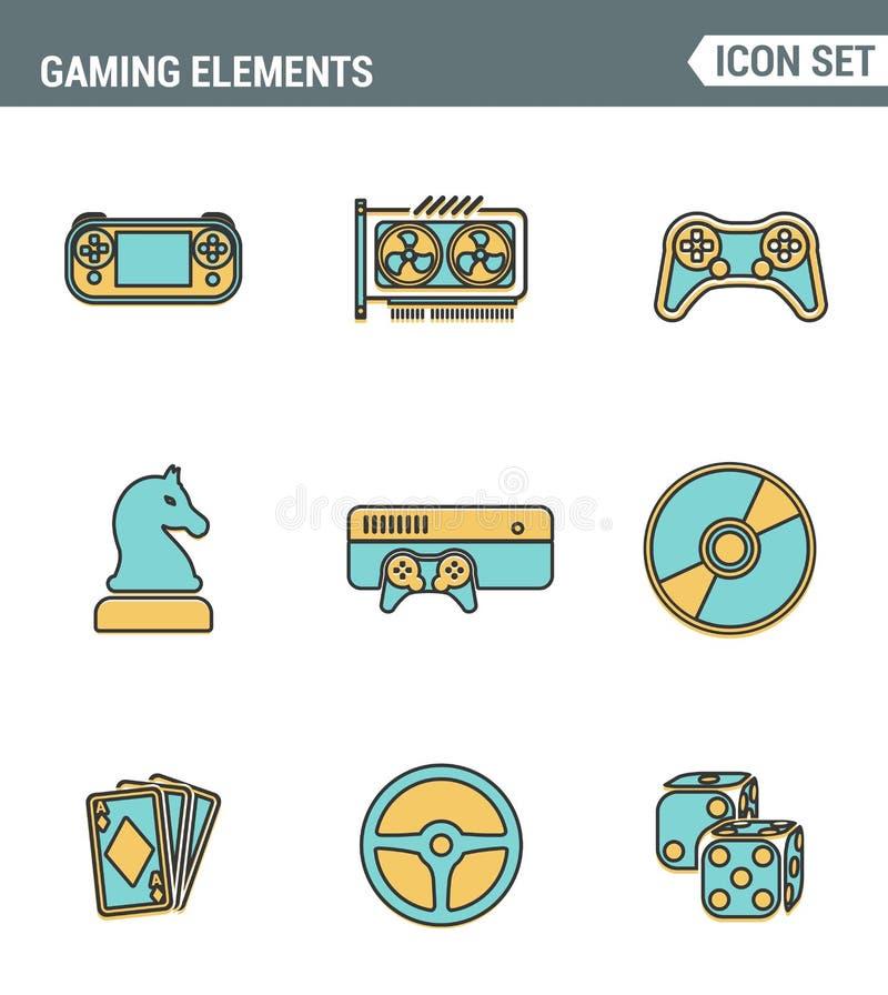 Ikony wykładają ustaloną premii ilość klasyczni gemowi przedmioty, mobilni hazardów elementy Nowożytnego piktograma projekta inka royalty ilustracja
