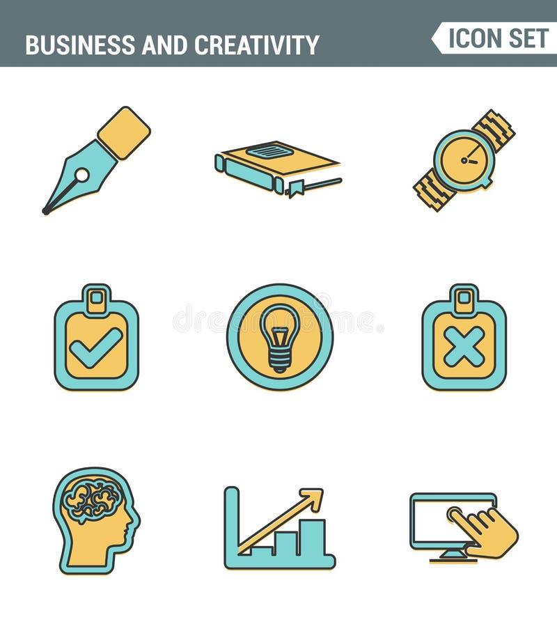 Ikony wykładają ustaloną premii ilość kreatywnie rozwoju biznesu proces, nowożytny biurowy obieg i twórczości rozwiązanie, piktog ilustracja wektor