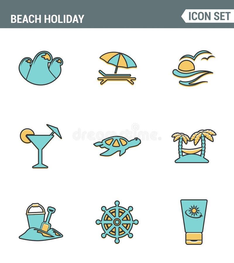 Ikony wykładają ustaloną premii ilość plażowy wakacyjny pikowanie podróży natury wakacje na całym świecie Nowożytnego piktograma  royalty ilustracja