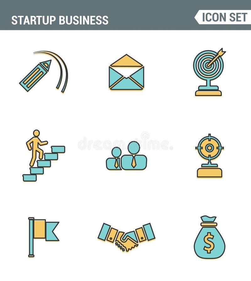 Ikony wykładają ustaloną premii ilość początkowy biznes i wszczynają nowego produkt na rynku Nowożytnego piktograma projekta inka royalty ilustracja