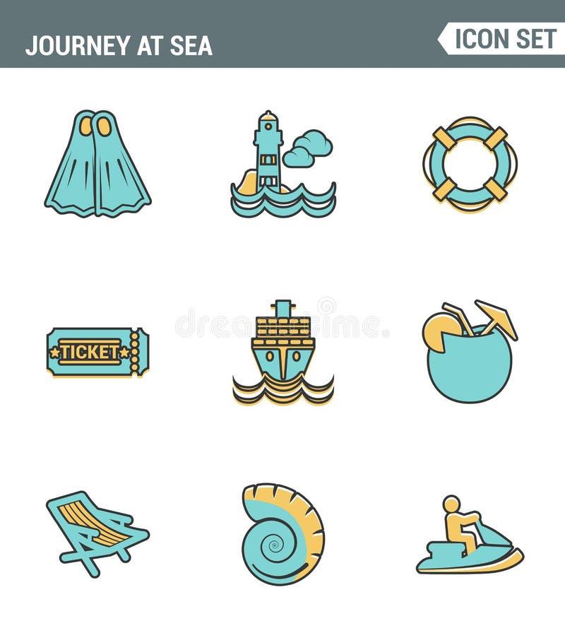 Ikony wykładają ustaloną premii ilość podróż przy dennego lata tropikalnym urlopowym pikowaniem Nowożytnego piktograma projekta i ilustracji