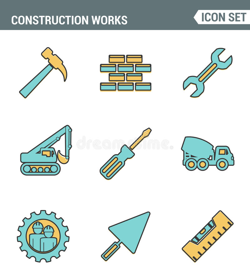 Ikony wykładają ustaloną premii ilość robot budowlany na miejsca i budynku narzędziach Nowożytnego piktograma projekta inkasowy p ilustracja wektor
