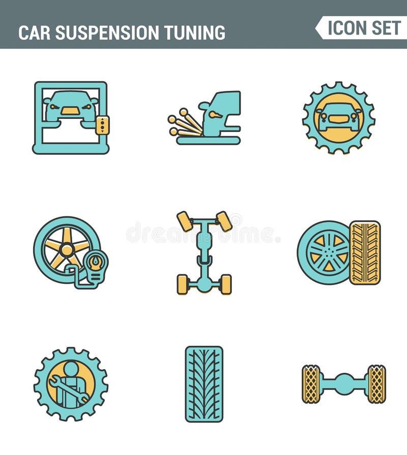 Ikony wykładają ustaloną premii ilość samochodowa zawieszenia nastrajania transportu mechanika garażu naprawa Nowożytnego piktogr ilustracja wektor
