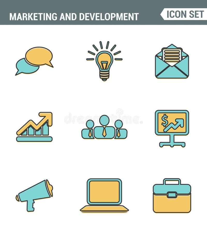 Ikony Wykładają ustalonej premii ilości cyfrowego marketingowego symbol, rozwój biznesu rzeczy, ogólnospołecznych środków przedmi royalty ilustracja
