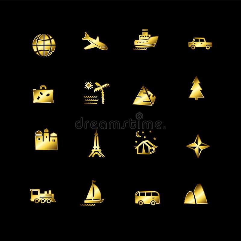 ikony złocista podróż ilustracja wektor