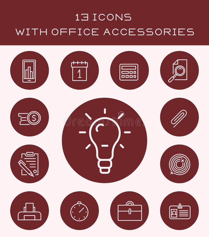 13 ikony z biurowymi akcesoriami ilustracja wektor