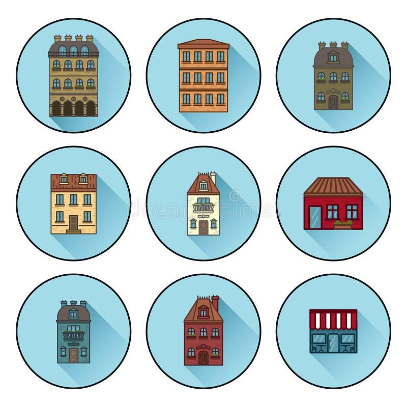 Ikony z budynkami budowali w Paryskich płaskich liniowych domowych ikonach r?wnie? zwr?ci? corel ilustracji wektora ilustracji