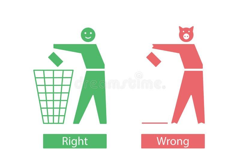 Ikony z człowiekiem i świnią, które wyrzucają śmieci royalty ilustracja
