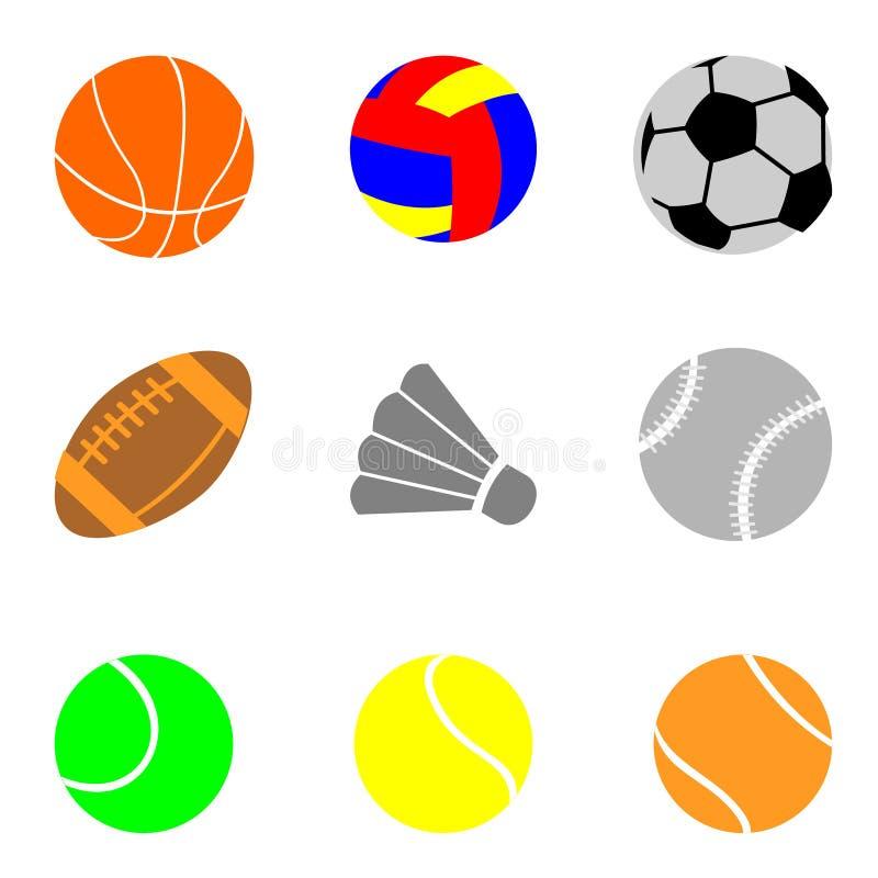 Ikony z elementami sporty, piłki dla futbolu, siatkówka ilustracja wektor