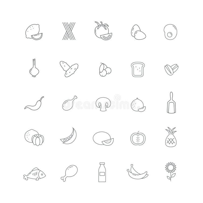 Ikony z pożytecznie produktami ilustracja wektor