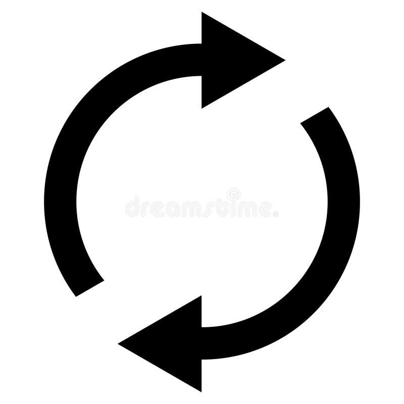Ikony zamiana wznawia, wirujący strzała w okręgu, wektorowa symbol synchronizacja, odnawialna produkt wymiana, zmiana odnawia ilustracja wektor