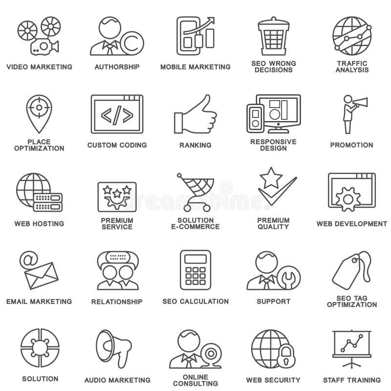 Ikony zbiorowe zarządzanie, biznesowy szkolenie ilustracji