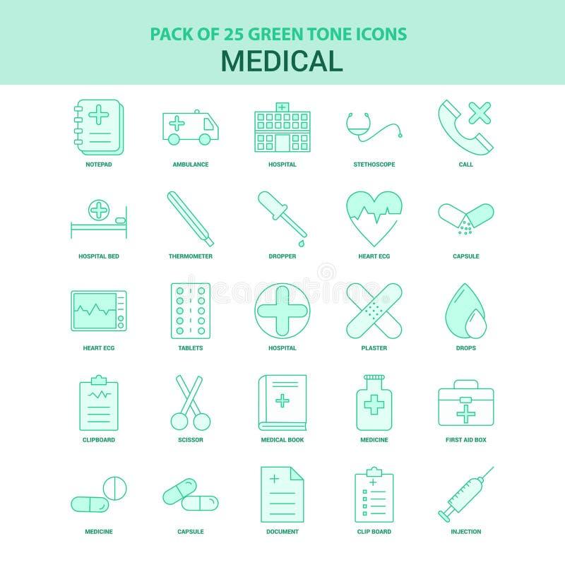 25 ikony Zielony Medyczny set royalty ilustracja
