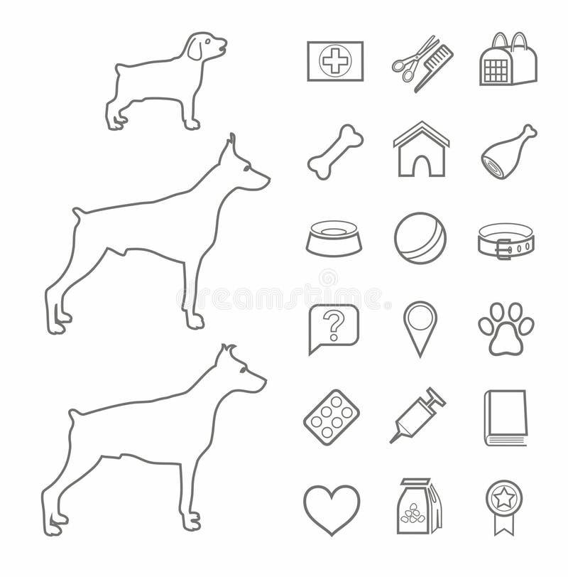 Ikony, zoo, zwierzę domowe dostawy, kontur, czerń, psy, wiek, biały tło ilustracji