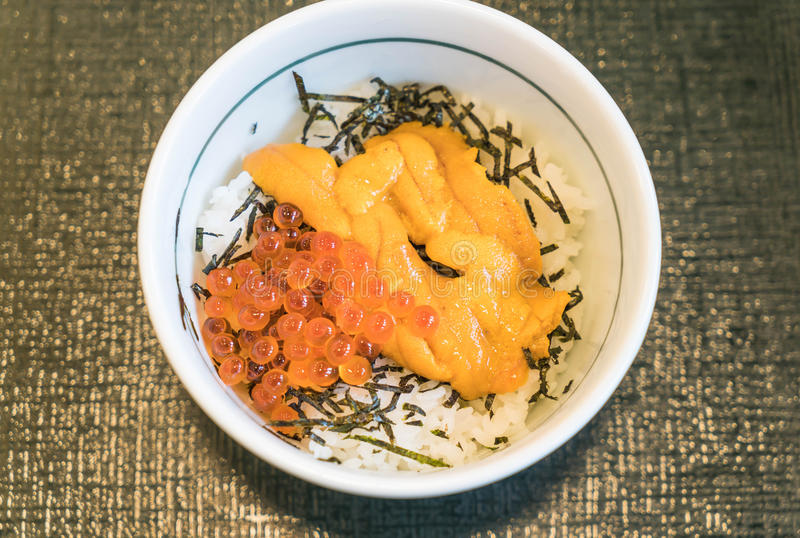 Ikura и Uni Дон (salmon яичка косуль и мальчишкаа покрывая на японце стоковые изображения