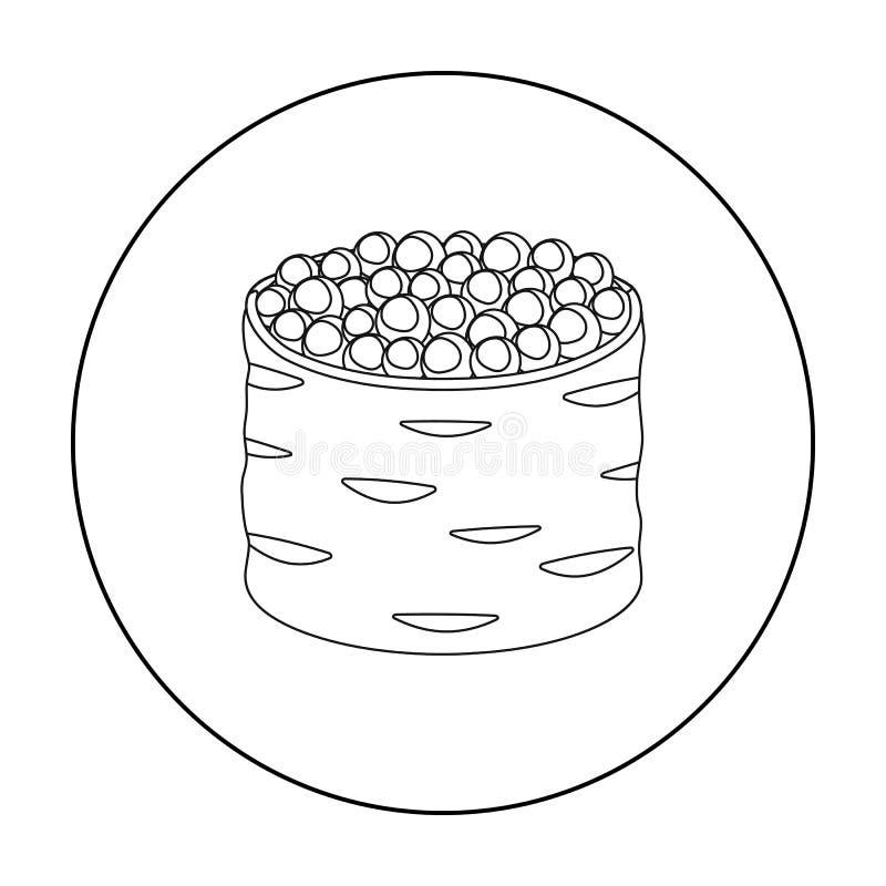 Ikura gunkan-maki icon in outline style isolated on white background. Sushi symbol stock vector illustration. Ikura gunkan-maki icon in outline style isolated vector illustration