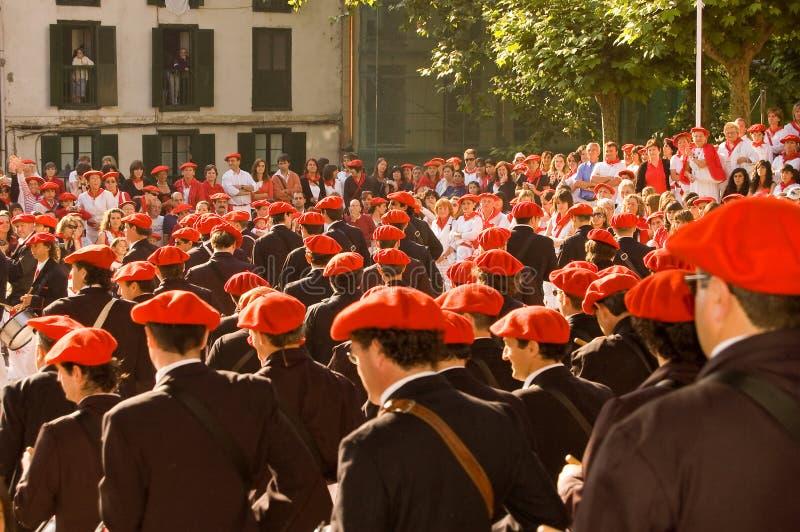 Il Alarde di San Marcial a Irun Guipuzcoa, Spagna fotografie stock