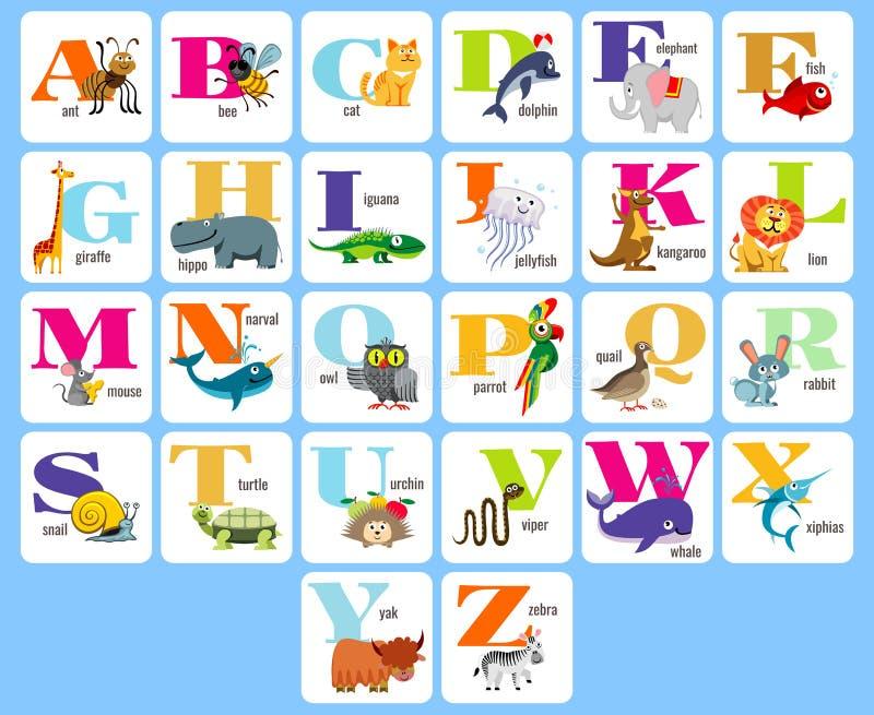 Il alphabeth completo dei bambini con gli animali del fumetto vector l'illustrazione illustrazione vettoriale