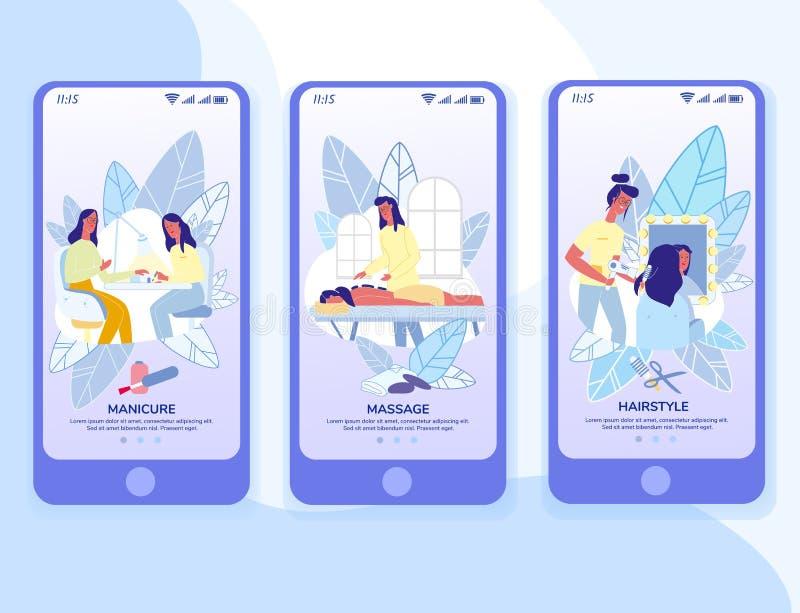 Il App mobile di Onboarding del negozio di bellezza impagina il modello illustrazione di stock