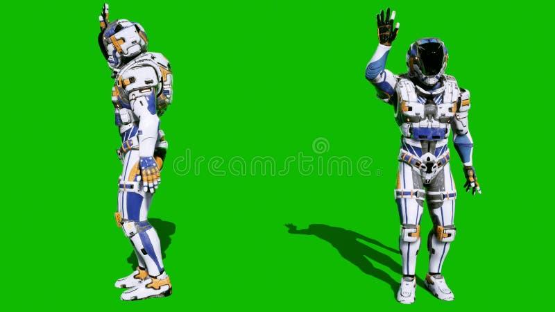 Il astronauta-soldato del futuro ha ondeggiato la sua mano davanti allo schermo verde dello schermo verde rappresentazione 3d fotografia stock libera da diritti