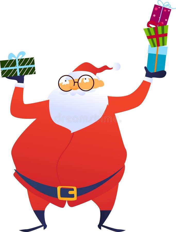 Il Babbo Natale allegro che dà il contenitore di regalo di natale illustrazione vettoriale