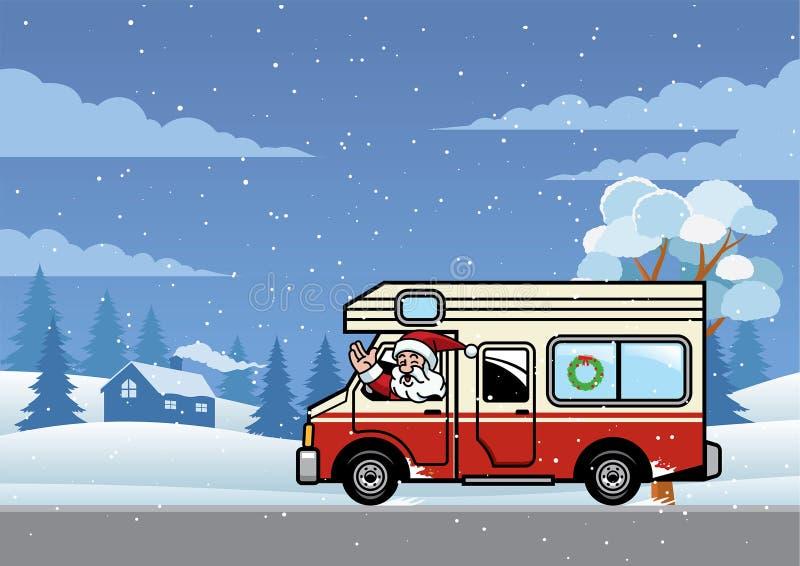 Il Babbo Natale che conduce il camion di rv per la festa illustrazione vettoriale