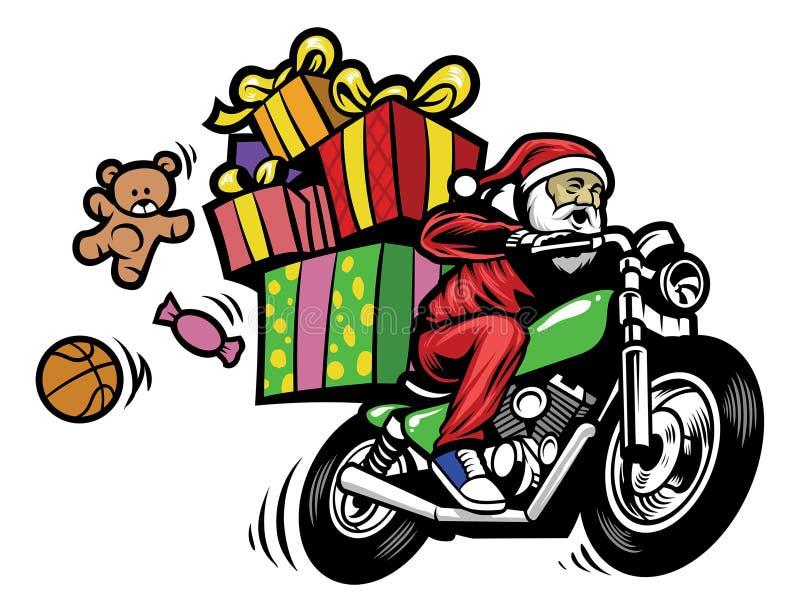 Il Babbo Natale che consegna il regalo di natale guidando un motociclo illustrazione vettoriale