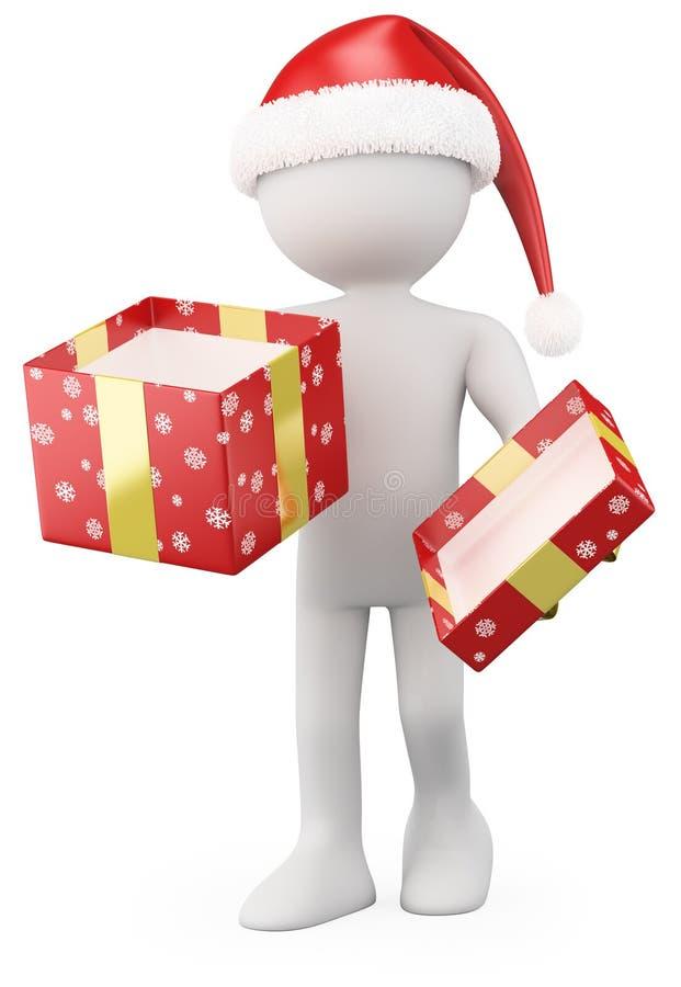 Il Babbo Natale che giudica un contenitore di regalo aperto illustrazione di stock