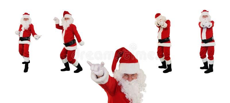 Il Babbo Natale che propone contro il bianco, percorso di residuo della potatura meccanica immagine stock