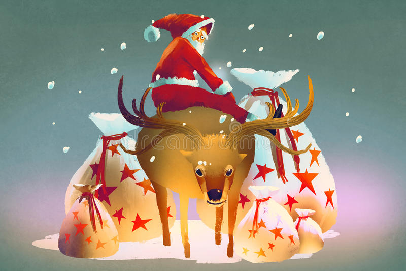 Il Babbo Natale che si siede sulla sua renna con il regalo insacca royalty illustrazione gratis