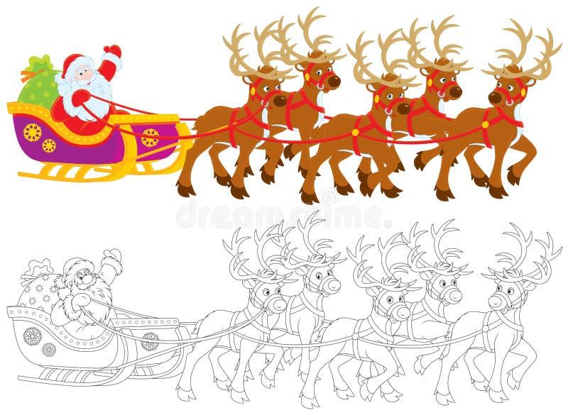 Il Babbo Natale che sledding illustrazione vettoriale
