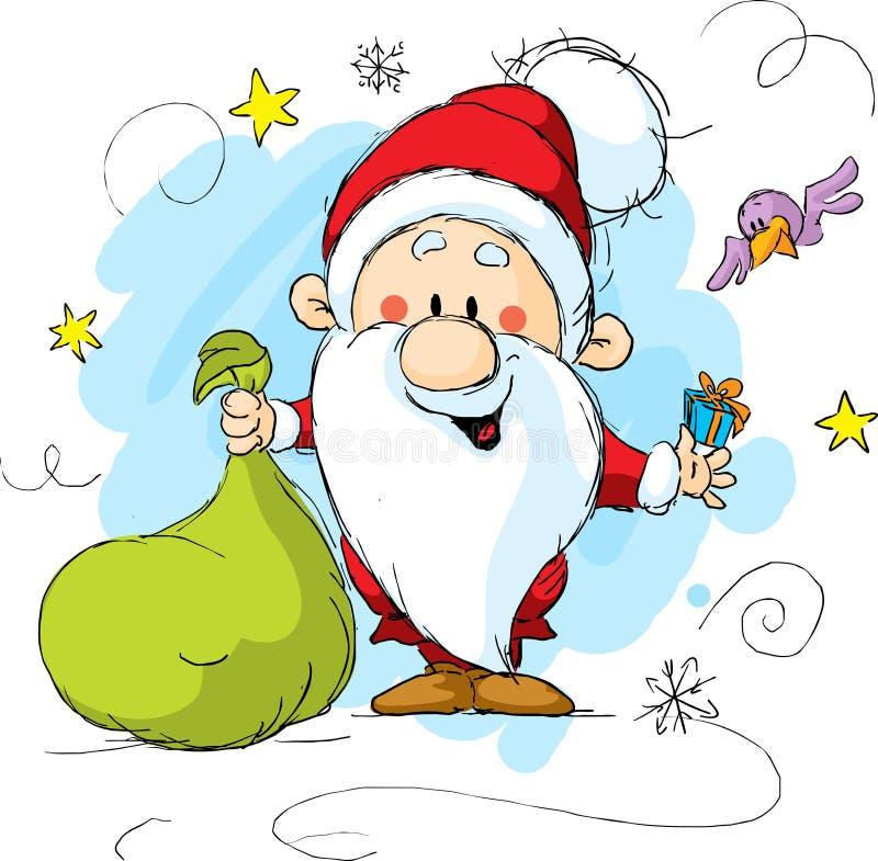 Il Babbo Natale che tiene un sacchetto e un regalo illustrazione vettoriale