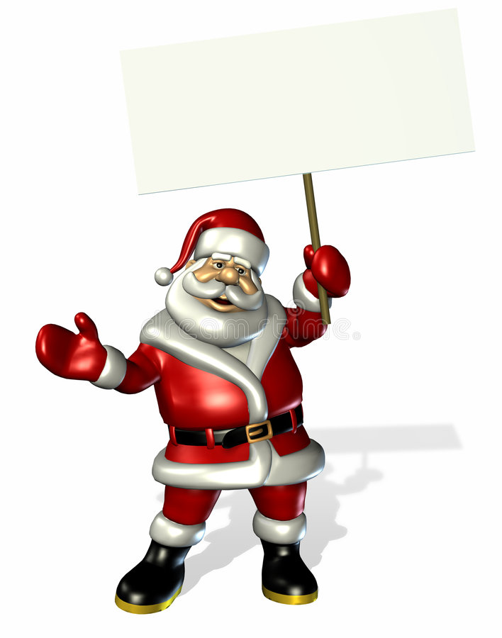 Il Babbo Natale che tiene un segno in bianco - con il percorso di residuo della potatura meccanica illustrazione vettoriale