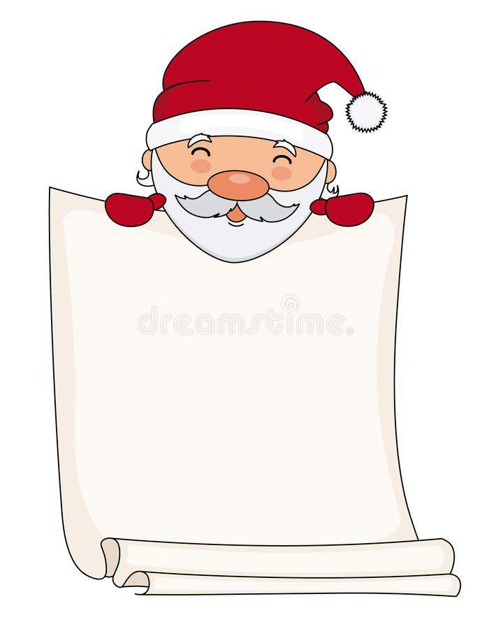 Il Babbo Natale con il foglio bianco per testo illustrazione di stock