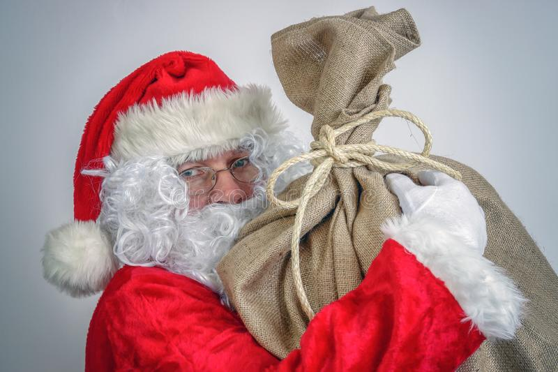 Il Babbo Natale con il grande sacco immagine stock libera da diritti