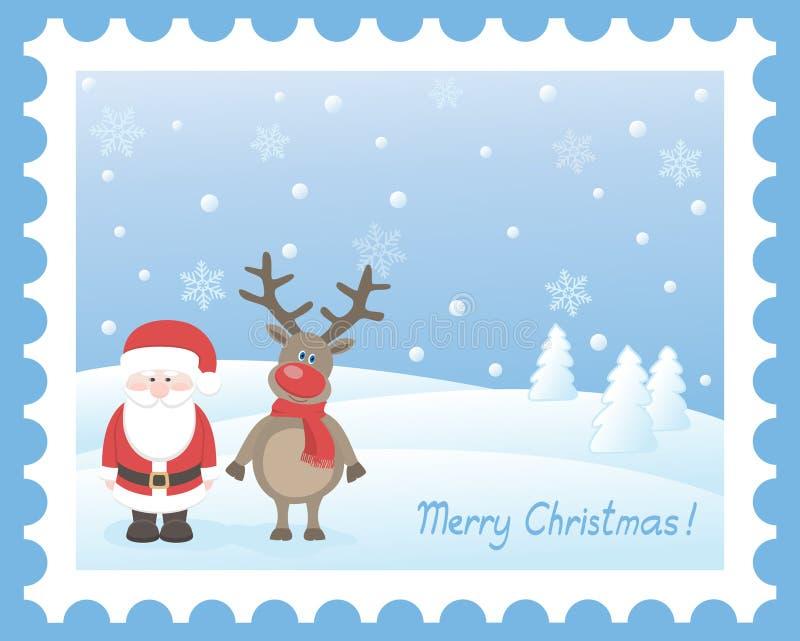 Il Babbo Natale con i cervi illustrazione vettoriale