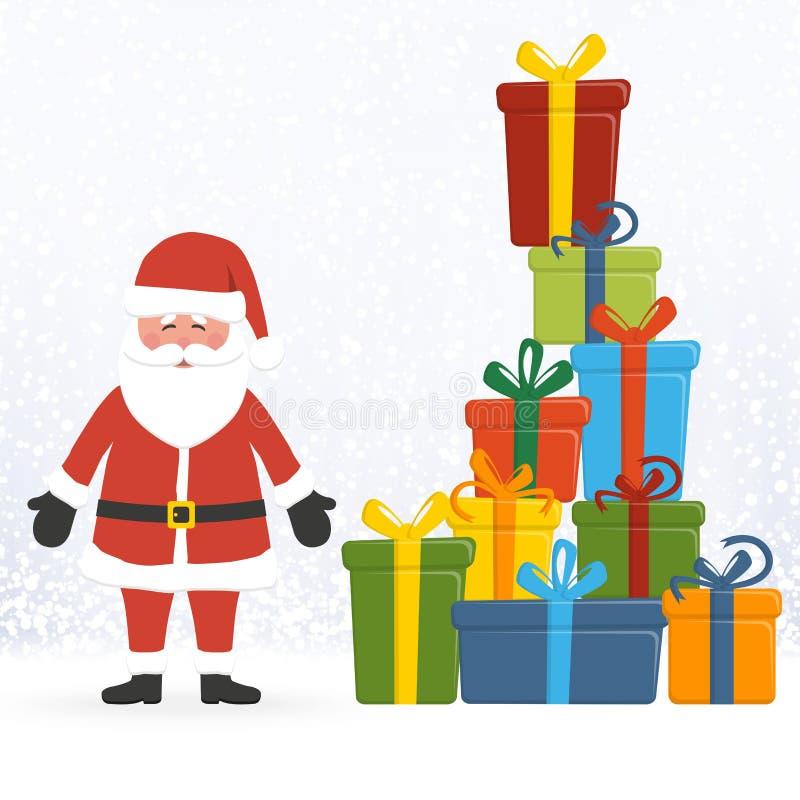 Il Babbo Natale con i regali di natale illustrazione di stock
