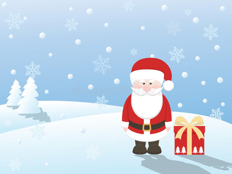 Il Babbo Natale con il regalo royalty illustrazione gratis