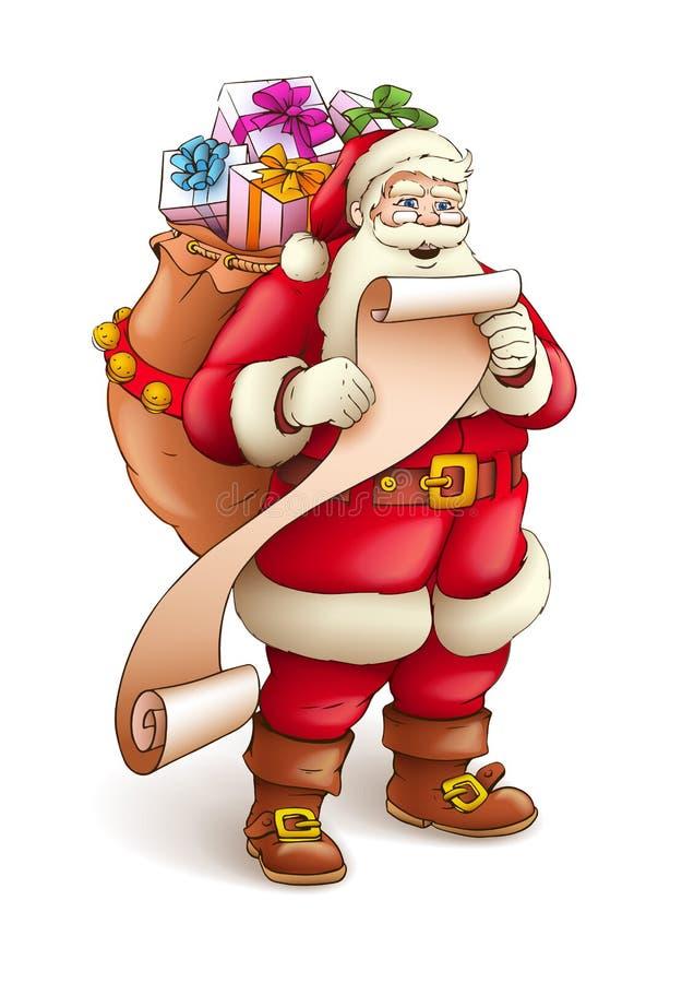 Il Babbo Natale con il sacco pieno dei regali illustrazione vettoriale